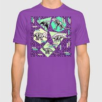 90's Dinosaur Skeleton Neon Pattern Mens Fitted Tee Ultraviolet SMALL