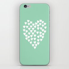 Hearts Heart White on Mint iPhone & iPod Skin