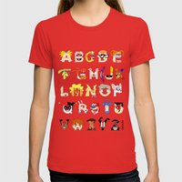 Child of the 90s Alphabet Womens Fitted Tee Red SMALL