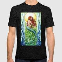 Kelp Forest Mermaid Mens Fitted Tee Tri-Black SMALL