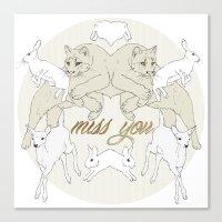 Miss You (Kitsch Symmetry series)  Canvas Print