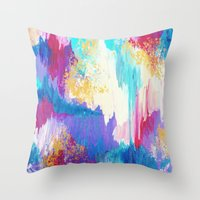 SWEET DREAMS - Lovely Bright Soft Pastel Modern Abstract Fun Nursery Ombre Design Acrylic Painting Throw Pillow