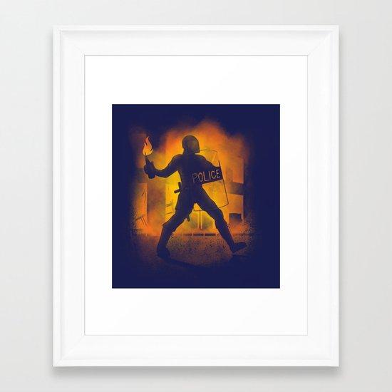 Riot Cop Framed Art Print