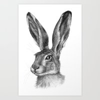 Cute Hare portrait G126 Art Print