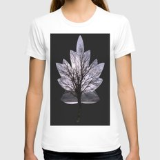 Leaf Tree Womens Fitted Tee White SMALL