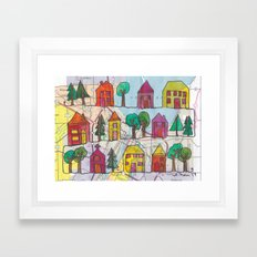 Green Bay, WI Neighborhood Continuous Line Drawing on vintage map Framed Art Print