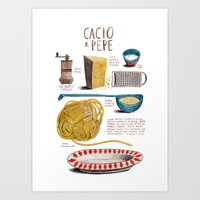 illustrated recipes: cacio e pepe Art Print
