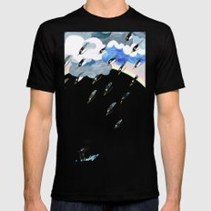 Rain rainbow clouds penguins Mens Fitted Tee Black SMALL