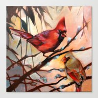 Canvas Print featuring Cardinal Love by S.G. DeCarlo
