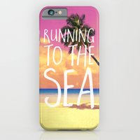 iPhone Cases featuring Running to the Sea by Text Guy