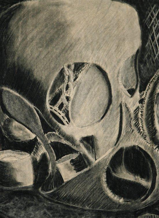 Skull in Scrapyard Art Print