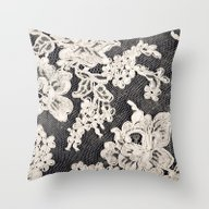 Black And White Lace- Ph… Throw Pillow