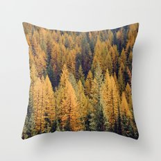 Autumn Tamarack Pine Trees Throw Pillow