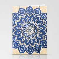 blue Stationery Cards featuring ókshirahm sky mandala by Peter Patrick Barreda