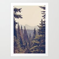 Mountains Through The Tr… Art Print