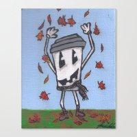 Pumpkin Face Latte Canvas Print