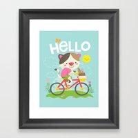 Cat On A Bike Framed Art Print