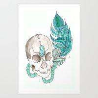 Skull Feather Art Print