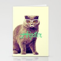 Turquoise Funny Cat Cute Hipster Glasses Mustache Stationery Cards