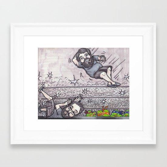 Elbow drop Framed Art Print