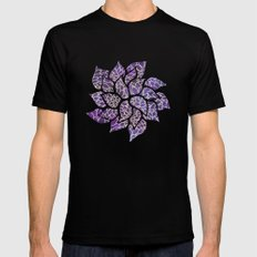 Floral Abstract 13 SMALL Mens Fitted Tee Black