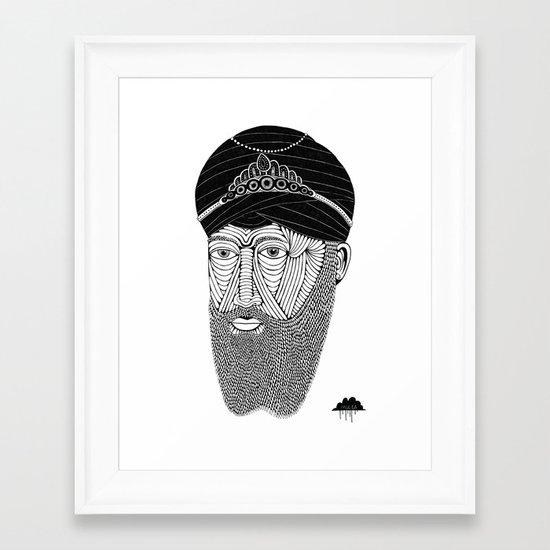 Sikh Guru with Fully Sick Beard and Bejeweled Turban Framed Art Print