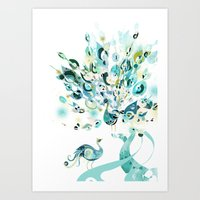 Art Print featuring 2 peacocks by Bex Glover
