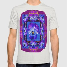 Purple Pansy & Butterfli… Mens Fitted Tee Silver SMALL