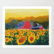 Barn And Sunflowers Art Print