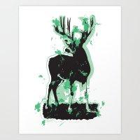 Splatter Deer Art Print