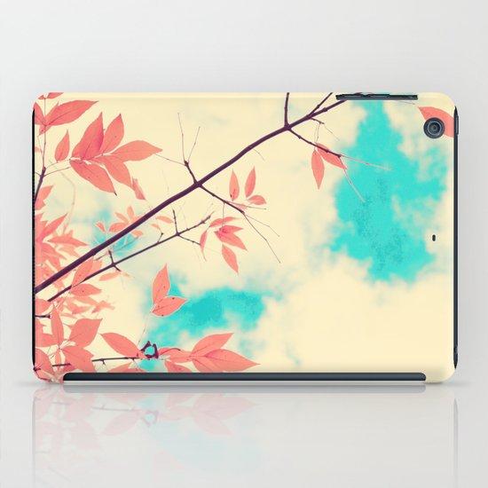 Pink fall leafs on retro vintage sky  iPad Case
