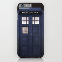 iPhone Cases featuring Tardis front by D.N.A.