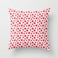 Red stars on white background illustration Throw Pillow