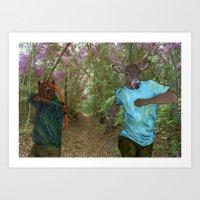 Bear Bow Hunting Art Print