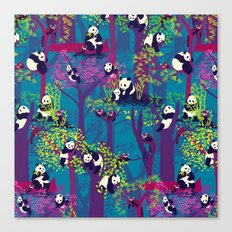 Both Species of Panda - Blue Canvas Print