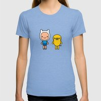 #48 Jake And Finn Womens Fitted Tee Tri-Blue SMALL