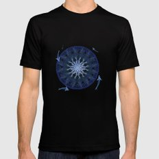 8 Koi Lotus Mandala in Blue SMALL Black Mens Fitted Tee