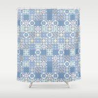 Blue Floor Tile Mashup Shower Curtain