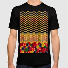Chevron And Dots SMALL Mens Fitted Tee Black