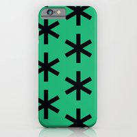 iPhone & iPod Case featuring Vondel Black on Green Pattern by Stoflab