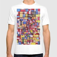 COMPOSITION IN RED Mens Fitted Tee White SMALL