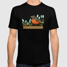 American Robin Black Mens Fitted Tee SMALL