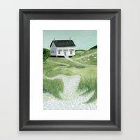 Cottage on the beach Framed Art Print
