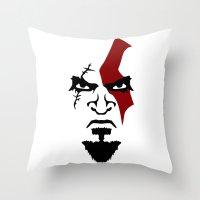 Kratos Face Throw Pillow