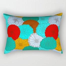 Rectangular Pillow - Bright Flowers, pattern in red, teal, green, violet, and gold - zeldashafferdesigns