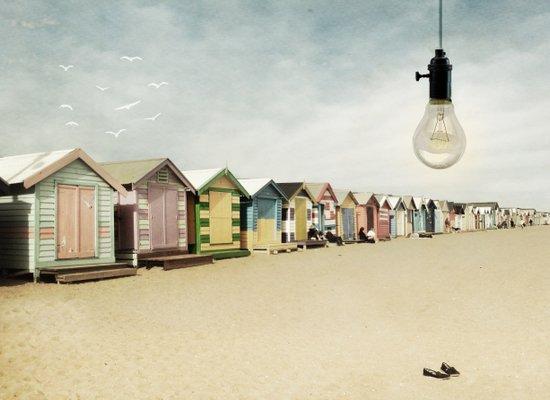lights on bathing boxes Art Print