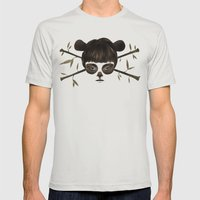 Pirate Panda Mens Fitted Tee Silver SMALL