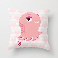 Squid Of Love (Valentine… Throw Pillow