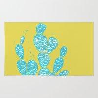 Linocut Cacti #1 Desert Blue Rug