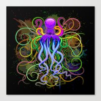 Octopus Psychedelic Luminescence Canvas Print